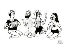 Gentlemen Bathers // Beach // Summer // A4 print by  Joana Rosa Bragança on Etsy