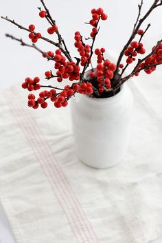 red berries and white
