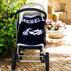 Personalized baby gifts - Cashmere baby blanket with motorcycle and child's name
