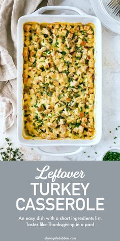 Leftover Turkey Casserole is an easy, delicious leftover turkey recipes favorite. It's the perfect post-holiday dish that'll please the whole family! #leftover #turkey #casserole #hotdish #thanksgiving #leftovers