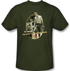 Andy griffith show t-shirt - gone fishing army green adult tee