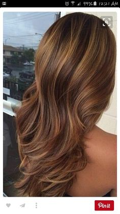 Beautiful chocolate, amber and caramel highlights on a dark brunette. Love this!!