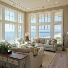 Sherwin Williams Balanced Beige Design Ideas, Pictures, Remodel, and Decor---Love the windows!!!