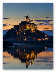 Mont Saint-Michel, France in Night