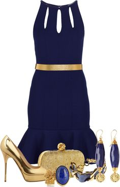 """""""Blue and gold"""" by fashion-766 ❤ liked on Polyvore"""