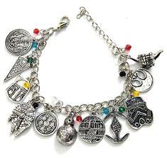Star Wars Theme Silvertone Metal Charm Bracelet