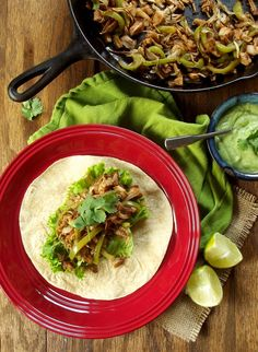 Jackfruit Fajitas with Avocado Cilantro Cream! Have been dying to try jackfruit. Vegan and can be made gluten-free.