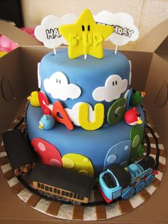 My sons Thomas the train/ Mario/ Angry Birds fondant birthday cake!