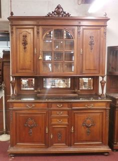 Antique French Cabinet w Arched Glass Center Door Carvings and Black Marble Top #FrenchFrenchCountry