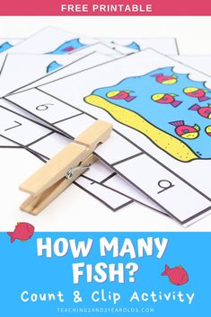 This preschool ocean counting activity works on counting and number recognition. Simply count the fish and mark the correct number using a clothespin or other small object. #preschool #counting #numbers #math #printable #activity #3yearolds #4yearolds #teaching2and3yearolds Ocean Activities, Nursery Activities, Counting Activities, Letter Activities, Preschool Learning Activities, Kids Learning, Kindergarten Worksheets, Numbers For Kids, Number Recognition