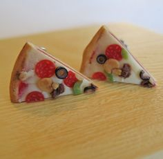 Pizza Slice Post Earrings - Mini Food Jewelry - Supreme