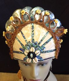 Polynesian Princess..Tahiti, Cook Island Costume.Lauhala,Tapa Cloth,Paua,Coconut Husk Fibers,Mother of Pearl Black Lip Shells Headpiece