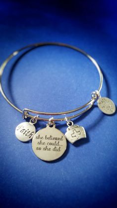 She Believed She Could, So She Did - Alex and Ani Inspired Bracelet, Student Nurse, Motivational, Perfect Gift, Holiday Shopping by jacleensboutique on Etsy