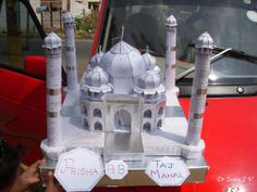 Taj Mahal Paper Model school project - we made it out of chart paper and a thermocol base