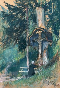 """Julian Falat  """"Before a Shrine"""", 1910-15, watercolour, crayon, pastel on cardboard, 65.2 x 45.5 cm, private collection"""