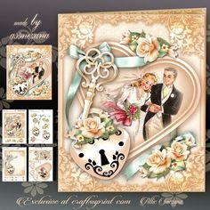 Anniversary Wedding Traditional Card Mini Kit on Craftsuprint designed by Atlic Snezana - Anniversary Wedding Traditional Card Mini Kit: 4 sheets for print with decoupage for 3D effect plus few sentiment tags (for your own personal text) - Now available for download!