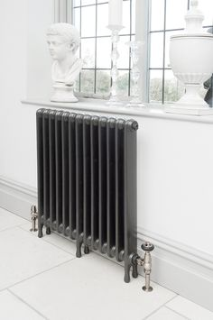 Narrow School cast iron radiator reclaimed and refurbished by Ribble Radiators. Painted in Graphite Grey Home Radiators, Cast Iron Radiators, Victorian Radiators, Painted Radiator, Cottage Lounge, Old Cottage, Furniture Legs, Maine House, Kitchen Tiles
