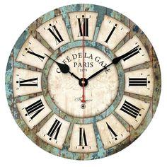 European Style Vintage Creative Round Wood Wall Clock Quartz Bracket Clock