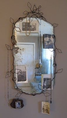make a wire vine around old mirror