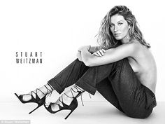Natural beauty: The wife of Tom Brady goes topless in another snap for the shoe designer...