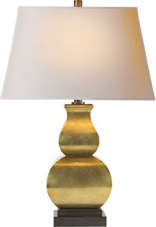 Fang Gourd Lamp in Antique Burnished Brass: CHA8627