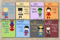 Items similar to Badezimmer-Superhelden-Kunstdrucke - 4er Set 8 x 10 - Captain America, Batman, Spiderman, Hulk, Iron Man, Superman, Flash, Green Lantern, etc.. on Etsy