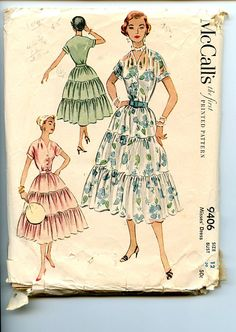 Vintage McCall's Pattern 9406 Misses Dress with Fitted Button-Front Bodice, 3 Tier Full Skirt, Sz 12 Bust 30 Vintage Dress Patterns, Clothing Patterns, Vintage Dresses, Vintage Outfits, Vintage Fashion, 1950s Fashion, Fashion Illustration Vintage, Miss Dress, Vestidos Vintage