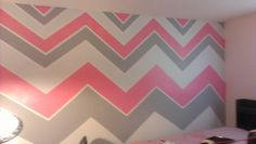 Pink,grey,& white chevron striped walls except with turquois Striped Walls Bedroom, Chevron Stripe Walls, Pink Striped Walls, Lilac Walls, White Walls, Pink Bedroom Design, Pink Bedroom Decor, Gray Bedroom, Trendy Bedroom