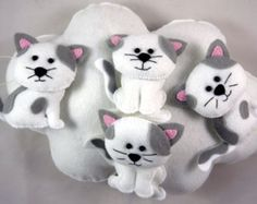 Cloud Cats Mobile, Nursery Mobile, Cats Mobile, Cloud crib mobile, baby room decoration, baby room mobile, Cat Mobile, nursery mobile