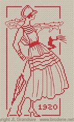 vintage girl cross stitch