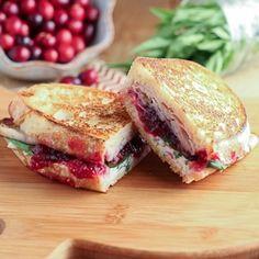 Turkey Cranberry Panini- w cranberry chutney, goat cheese, and baby spinach- YUM!!! xo