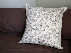 "Star Festival sale Japanese embroidery ""Sashiko"" cushion cover"
