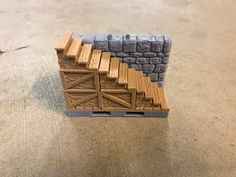 OpenForge Dungeon Stone Stairs - Low and High by VolkovNB - Thingiverse Stone Stairs, Mini Craft, Miniature Crafts, Tag Design, Table Games, Stone Tiles, Tabletop, Board Games, 3d Printing