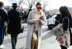 Long Grey Coat & Metallic Pants #streetstyle