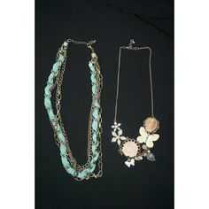 Statement Necklace USED 2 pc bundle , teal fabric and chained silver necklace , and thin chain pink floral necklace Forever 21 Jewelry Necklaces