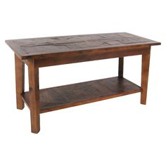 Revive Collection of reclaimed wood furniture features handcrafted design and a reduced impact on the environment. Reclaimed wood wears its history proudly and is long lasting. Versatile bench with shelf can be used as a coffee table, entryway or mudroom bench for putting on/removing shoes or anywhere you need extra seating/storage.