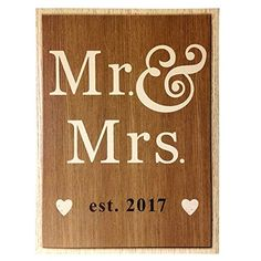 Mr and Mrs est 2017 Wedding Sign for BEST WEDDING GIFT IDEAS 2017 * Click image to review more details.