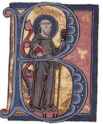 Bernard de Clairvaux, manuscrit du 13°s - Mystique et homme d'action, saint Bernard déploie une activité prodigieuse. A la mort de Honorius II, il fait élire Innocent II, évitant ainsi un schisme dans l'Eglise. Plus tard, il n'hésitera pas à écrire des lettres sévères à Eugène III, un ancien moine de Clairvaux devenu pape.