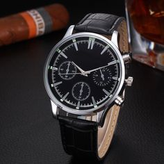 men's watches famous luxury brand Leather Band Fashion Quartz Wrist Watch orolog