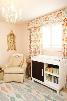 Peach Girl's Nursery, custom Ikat rug. #baby #room