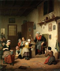 Basile de Loose (1809 -1885) — The Schoolroom, 1861 (800×946)