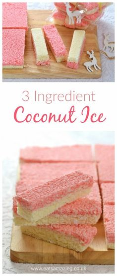Easy Coconut Ice recipe - Just 3 ingredients to make this delicious treat - homemade gift idea from Eats Amazing UK (baking recipes 3 ingredients) Coconut Ice Recipe, Coconut Icing, Coconut Recipes, Fudge Recipes, Candy Recipes, Sweet Recipes, Dessert Recipes, Cheap Recipes, Baking Recipes