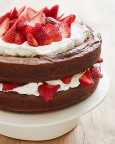 Katie Lee's Strawberry Brownie Layer Cake - http://www.sweetpaulmag.com/food/katie-lees-strawberry-brownie-layer-cake #sweetpaul