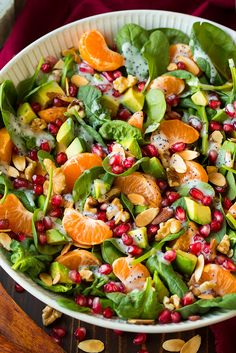 Mandarine Pomogranate Spinach Salad with Poppy Seed Dressing