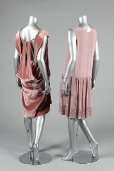 1920s evening wear, a mauve silk crepe cress with lilac beaded hem and trim; and a dusky-pink velvet cocktail dress with rhinestone beading and medallions, bands to open back