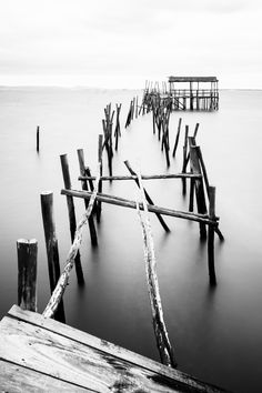 Black and White, Old Wooden Fisherman's Docks at Carrasqueira, P