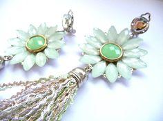 Tassel earrings Fringe earrings Green earrings long by MMGEM