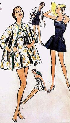 Vintage 1950's Sewing Pattern Pleated Bathing Suit Kimono