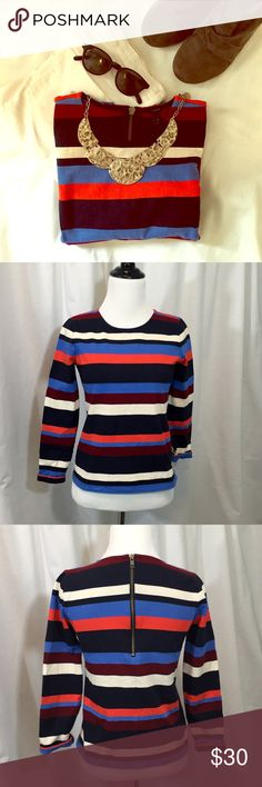 """J. Crew // Fall Stripe Zip Back Sweater EUC! Thick cotton knit pullover with blue and orange fall stripes and exposed zipper on back. 3/4 length rolled sleeves. Approx 20.5"""" length, 16"""" across chest. Great condition. Some light color fading, but no holes or stains. trades smoke free home J. Crew Sweaters Crew & Scoop Necks"""