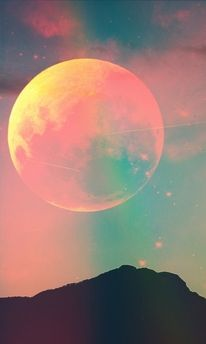 technicolor moon  Should be on a Pink Floyd album! Sun Moon Stars, Sky Moon, Moon Art, Terra, Night Skies, Pink Moon, Twilight Sky, Moonchild, Moon Rise